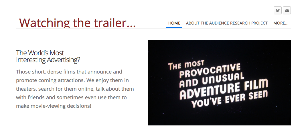 Homepage for the Trailer Audience Survey Project